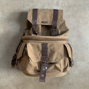 Canvas Camera Backpack W/ Rain Cover
